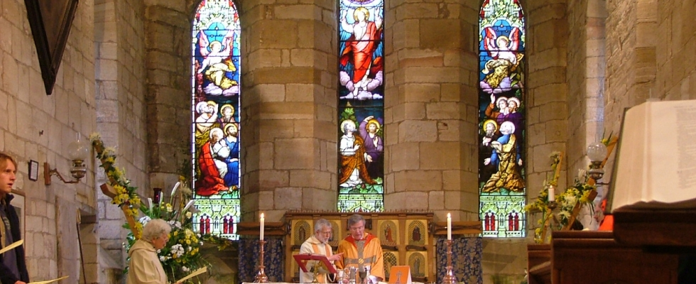 Easter Sunday – decorated crosses in St Mary's church, Holy Island of Lindisfarne