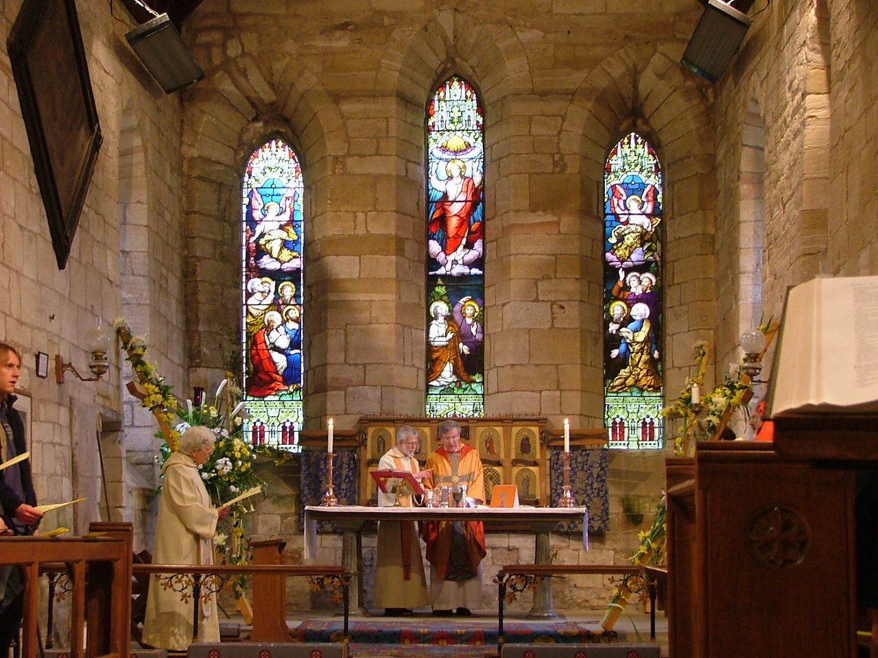 Easter Sunday - decorated crosses in St Mary's church, Holy Island of Lindisfarne